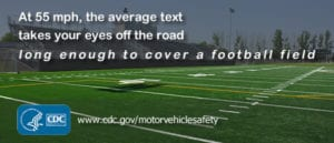 Football field demonstrating the average text takes eyes off road that long