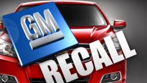GM logo and car with recall