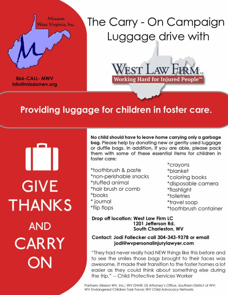 Flyer of West Law Firm and the Carry On Campaign dedicated to providing children in foster care with their own luggage
