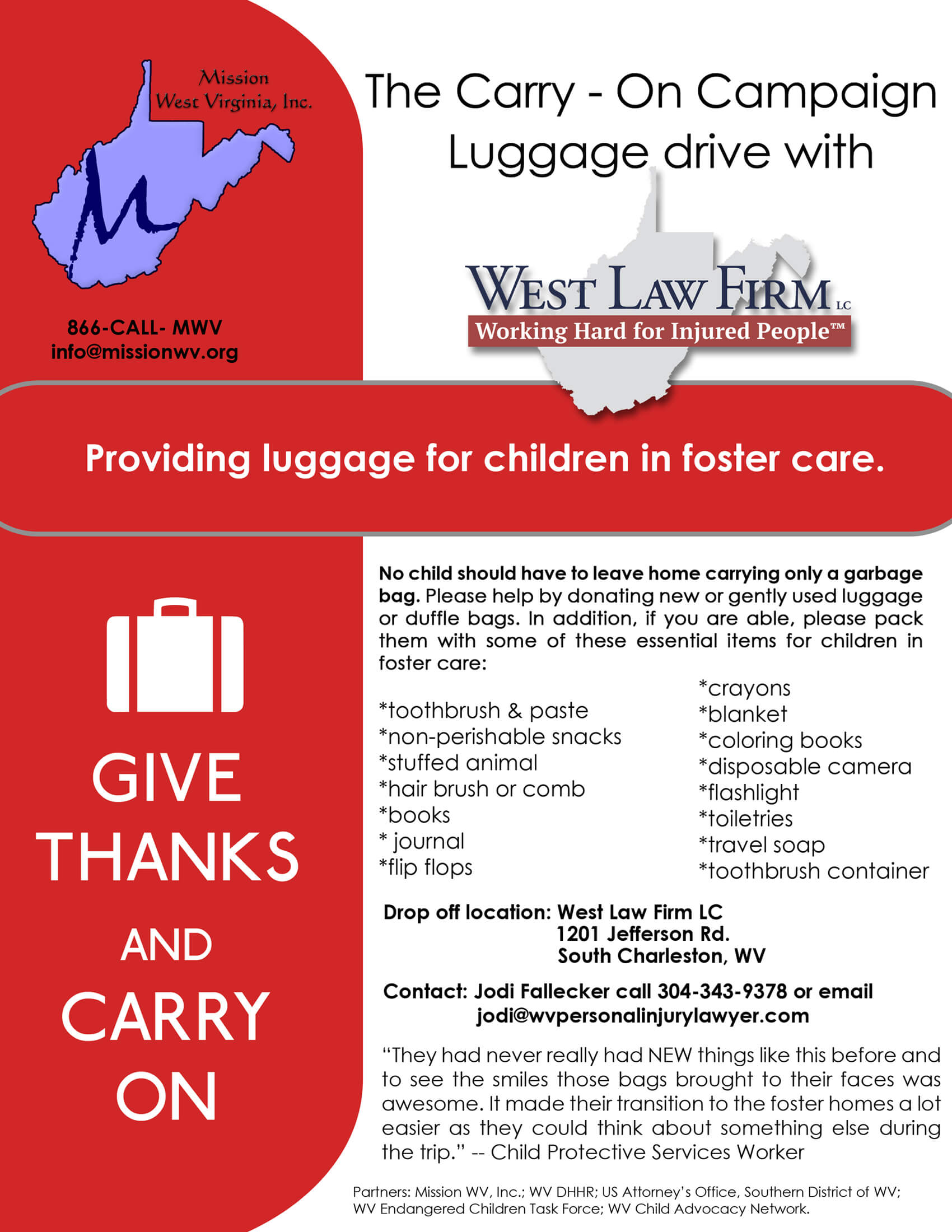 Wv colored childrens home - Flyer Of West Law Firm And The Carry On Campaign Dedicated To Providing Children In Foster