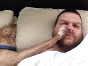 dog in bed keeps owner awake so he can't drive safely