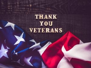 thank you veterans poster with american flag