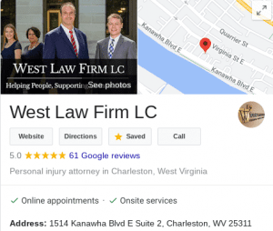West Law Firm's Google Reviews