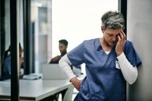 Nurse with headache after work injury