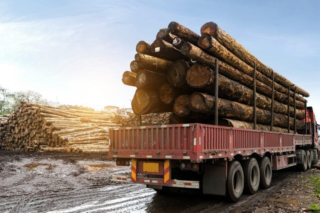 WV Log Truck being loaded