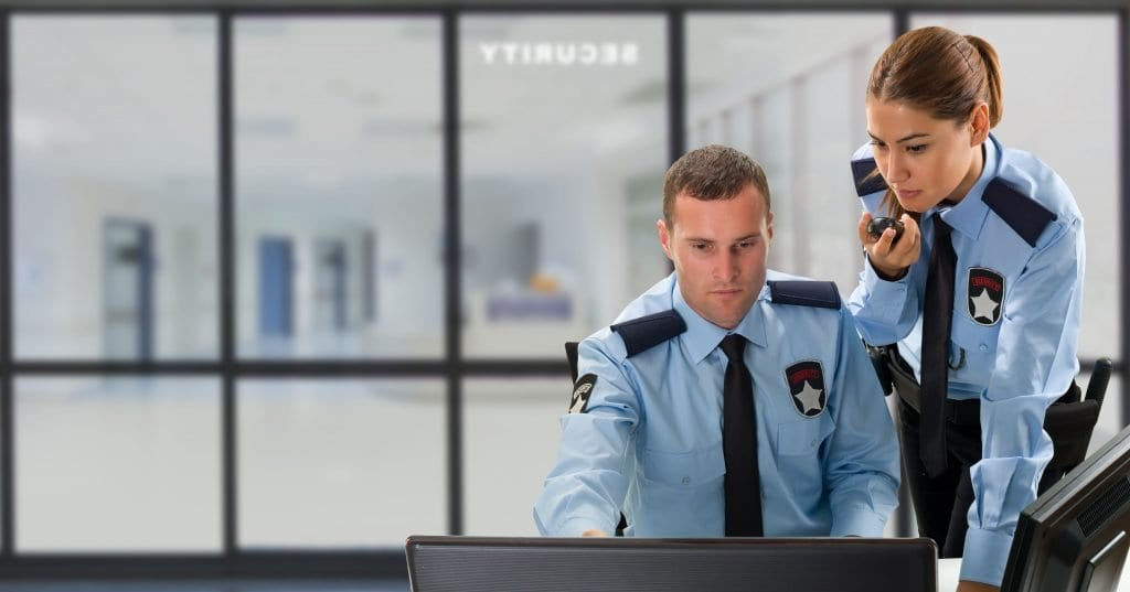 Business security system being managed by security guards.